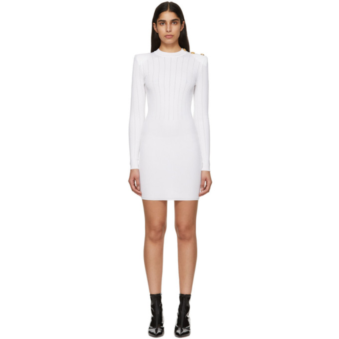 037507d8 Balmain White Buttoned Knit Mini Dress In 0Fa White | ModeSens