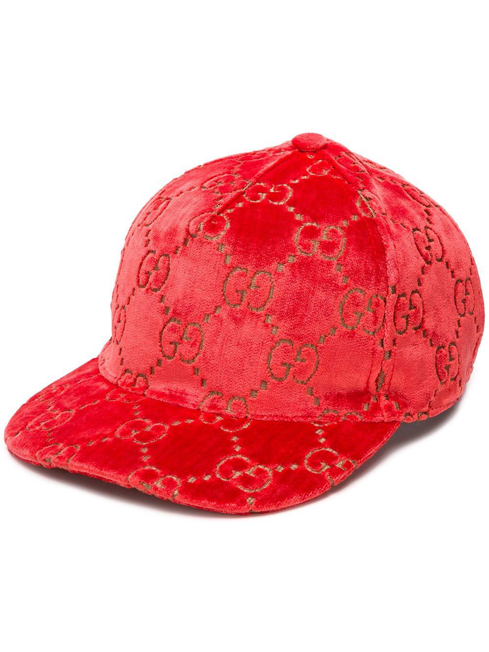 b454b948150 Gucci Metallic Velvet-Jacquard Baseball Cap In Red