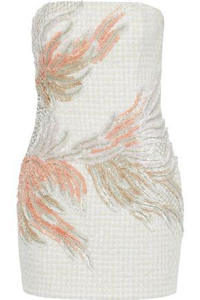 1964bb7e Balmain Embroidered Strapless Dress In Ecru/Multicorose | ModeSens