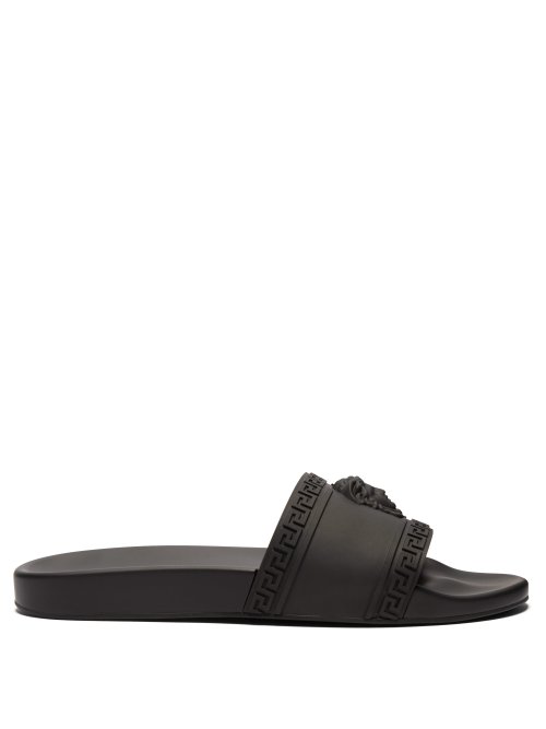 Versace Black Color Palazzo Medusa Pool Slides In D41 Nero