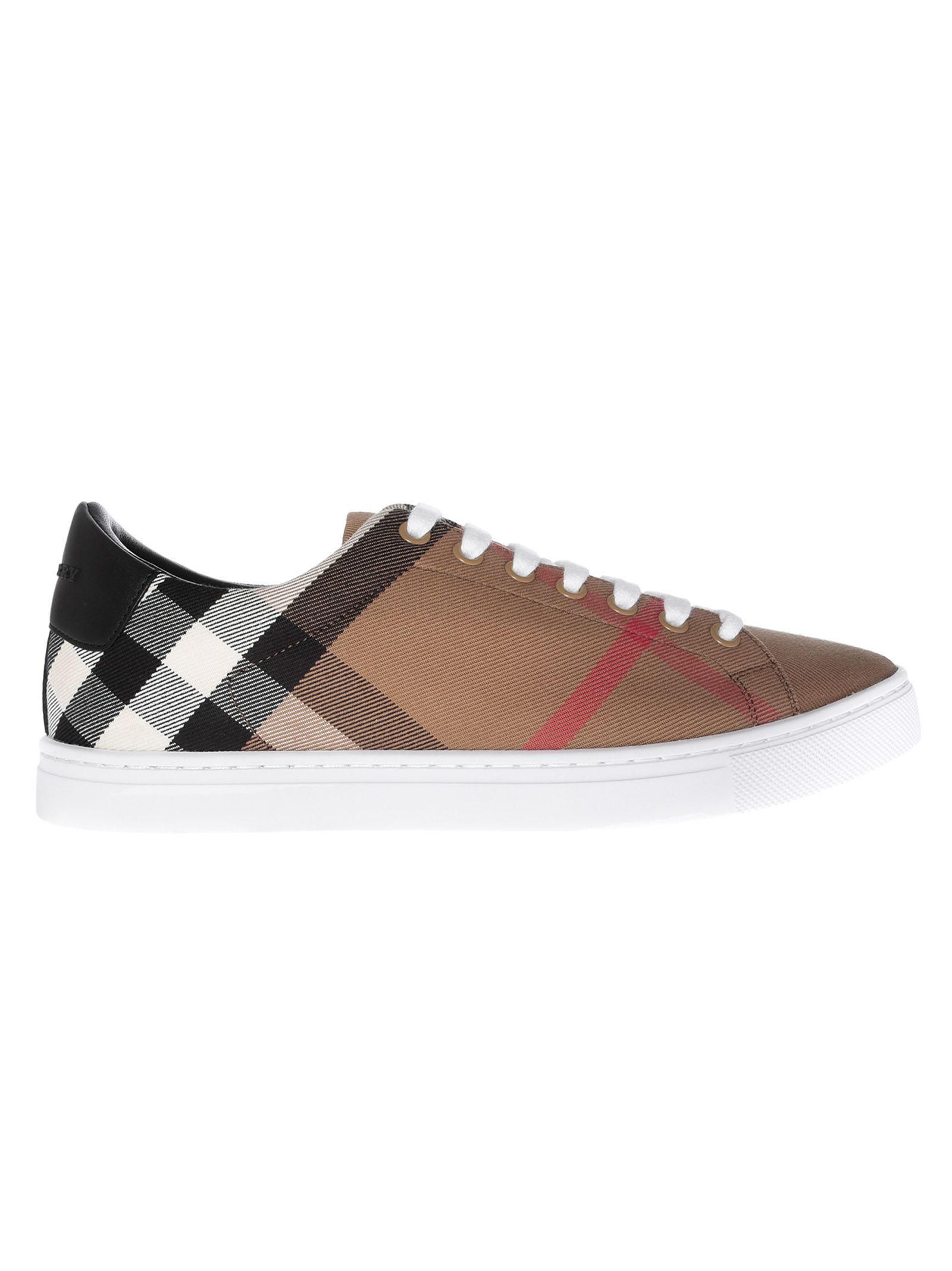 2e393c9d6d6d Burberry Albert House Check   Leather Low-Top Sneaker In Brown ...