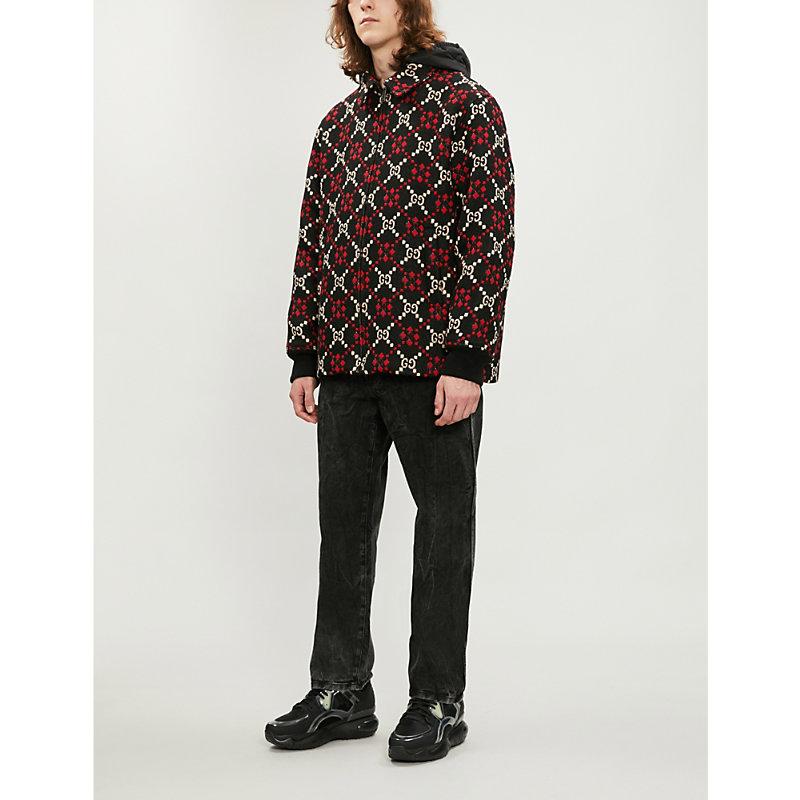 90f5f3e2409db Gucci Gg-Motif Wool Coat In Black