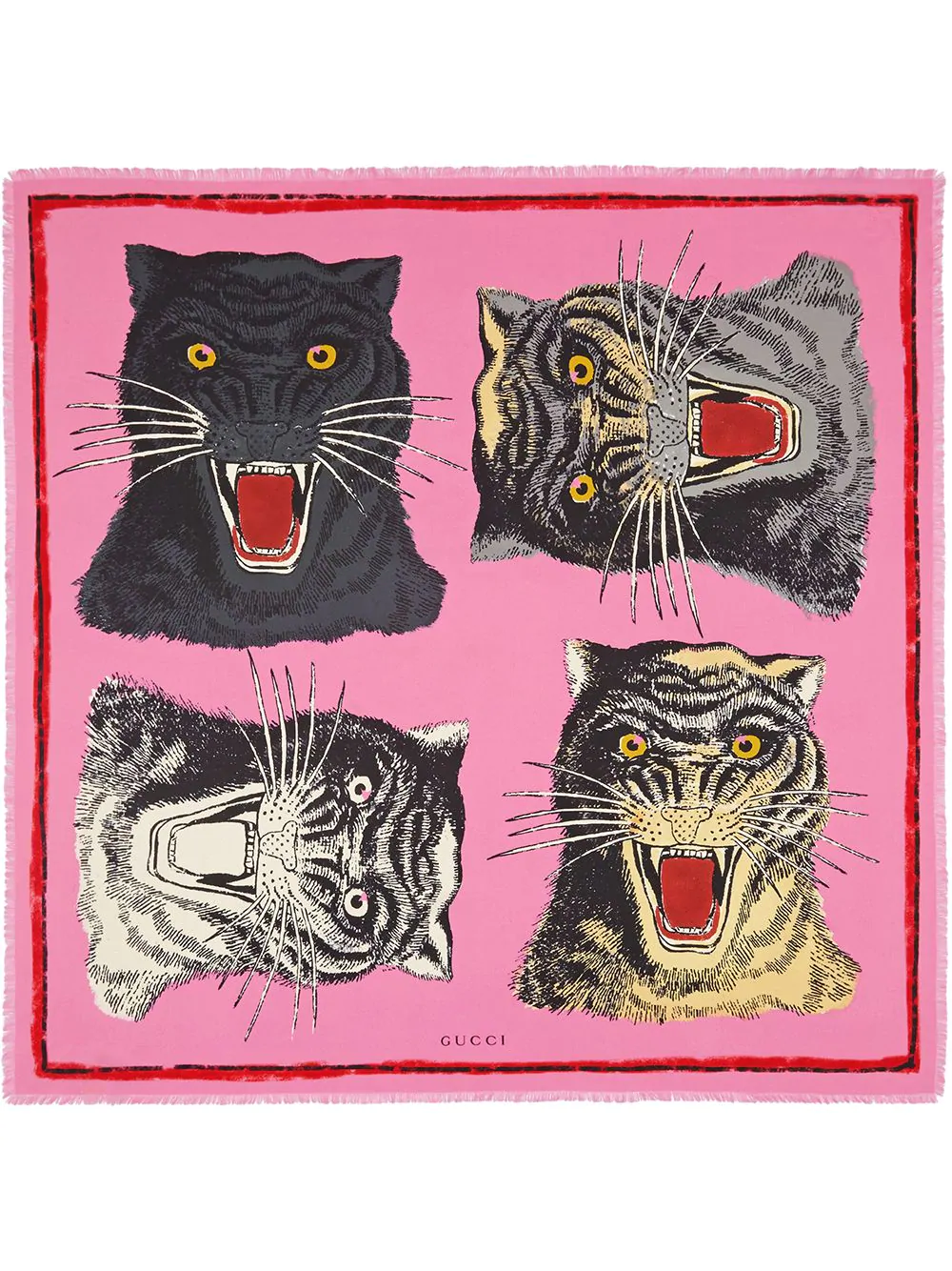 f85bad166 Tiger Face Printed Cashmere Blend Scarf in Pink