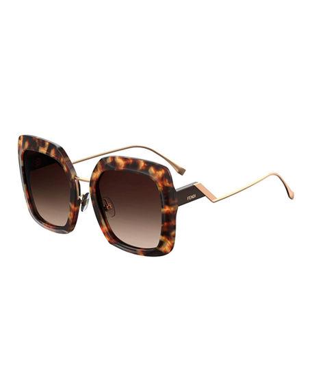 2517eb250656 Fendi Oversized Square Acetate   Metal Sunglasses In Brown Gradient ...