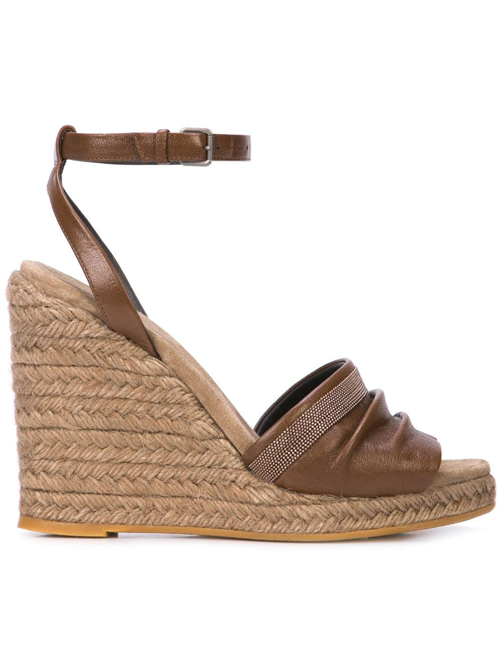 6040c8143a22 Brunello Cucinelli Wedge Espadrille Sandals - Brown