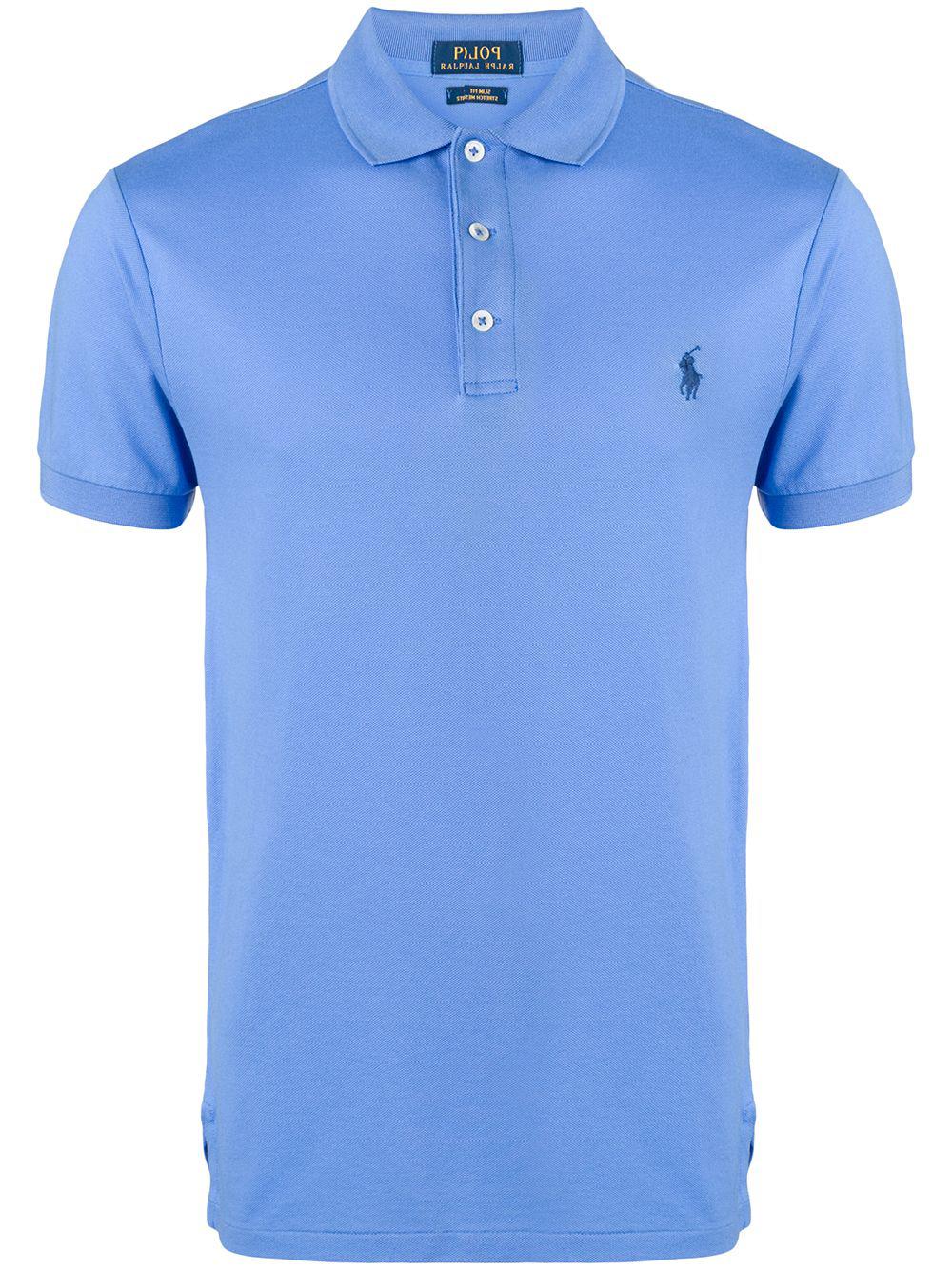 ca99cfc1a Polo Ralph Lauren Embroidered Logo Polo Shirt - Blue   ModeSens