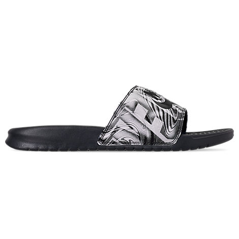 a1a3319ccb13 Nike Men s Benassi Jdi Print Slide Sandals From Finish Line In Anthracite  Black