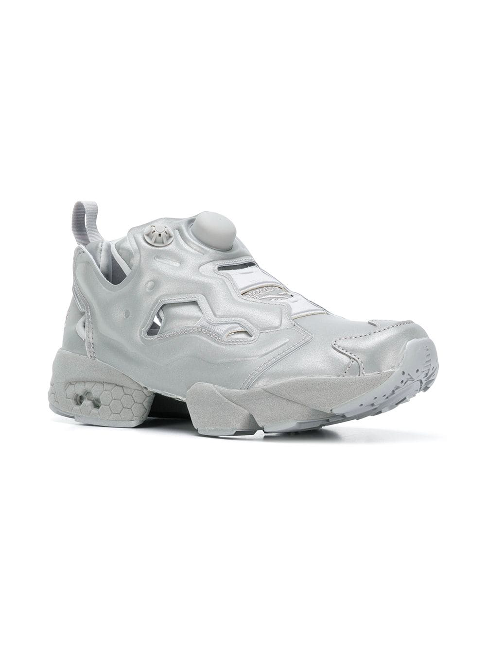 70840f7bf76 Vetements Grey Reebok Edition Reflective Instapump Fury Sneakers In Silver