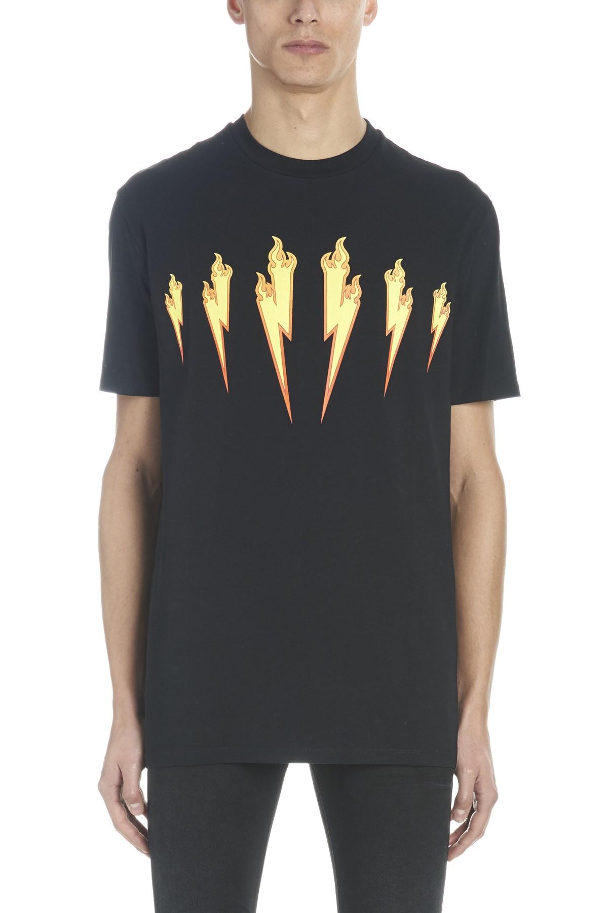 45349d872a Neil Barrett Flame Bolt Cotton-Jersey T-Shirt In Black   ModeSens
