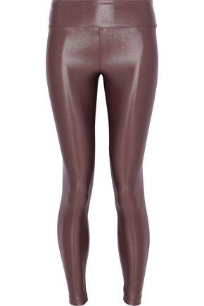7ea7a73f88a70 Koral Woman Lustrous Coated Stretch Leggings Brick | ModeSens