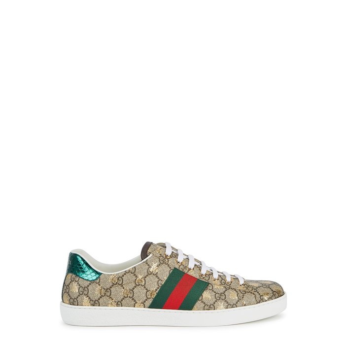85210c237fd Gucci New Ace Golden Bee-Embroidered Canvas Trainers In 8465