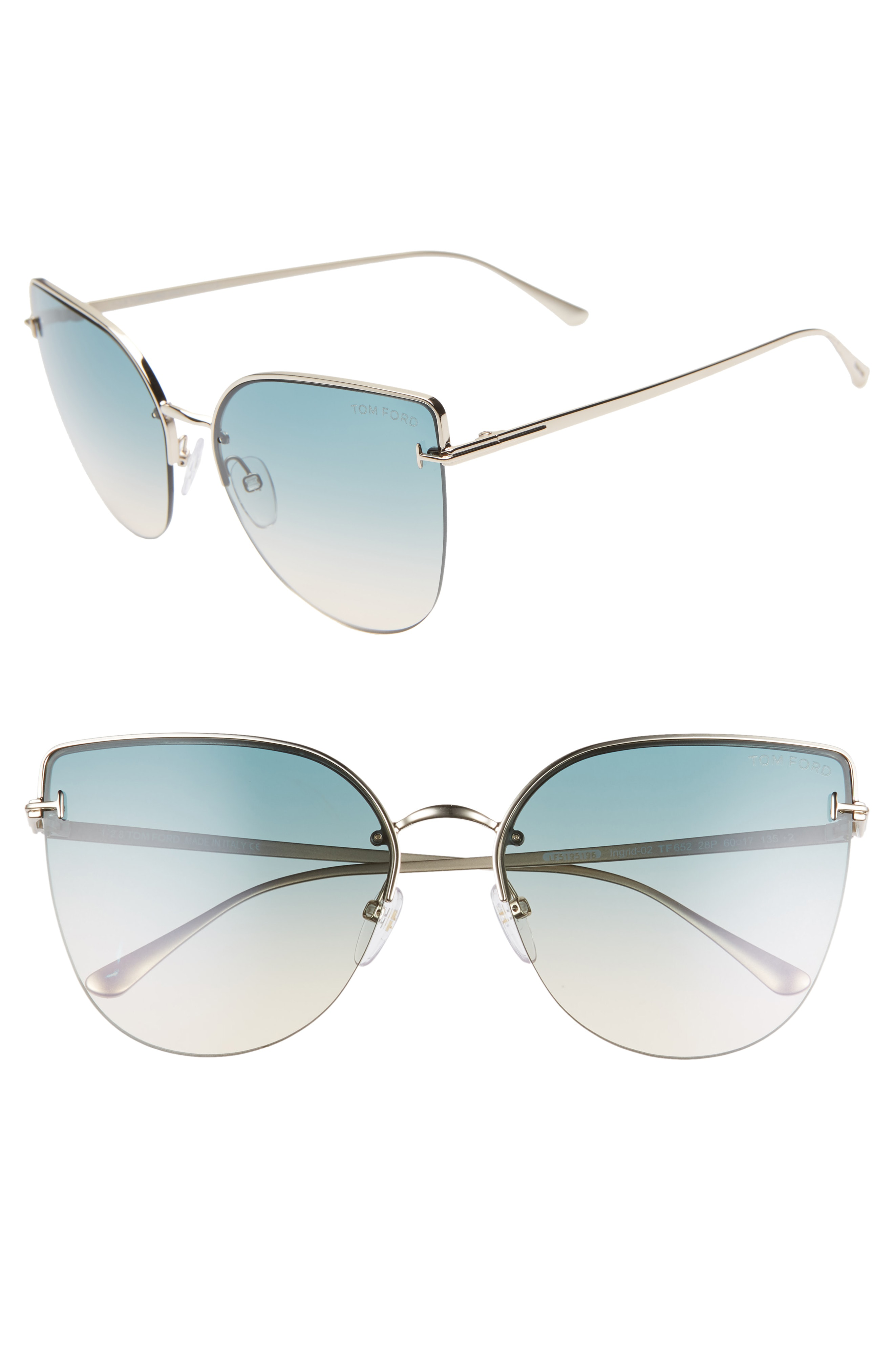 9bf396370a42 Tom Ford Ingrid 60Mm Cat Eye Sunglasses - Rose Gold  Gradient Brown ...
