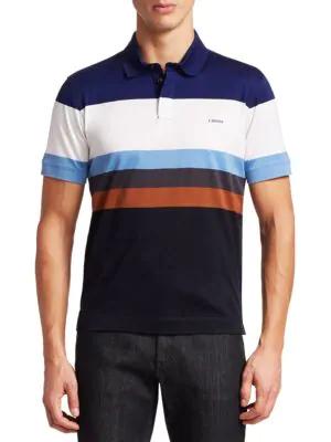 62b9763d Z Zegna Colorblock Cotton Polo In Brown   ModeSens