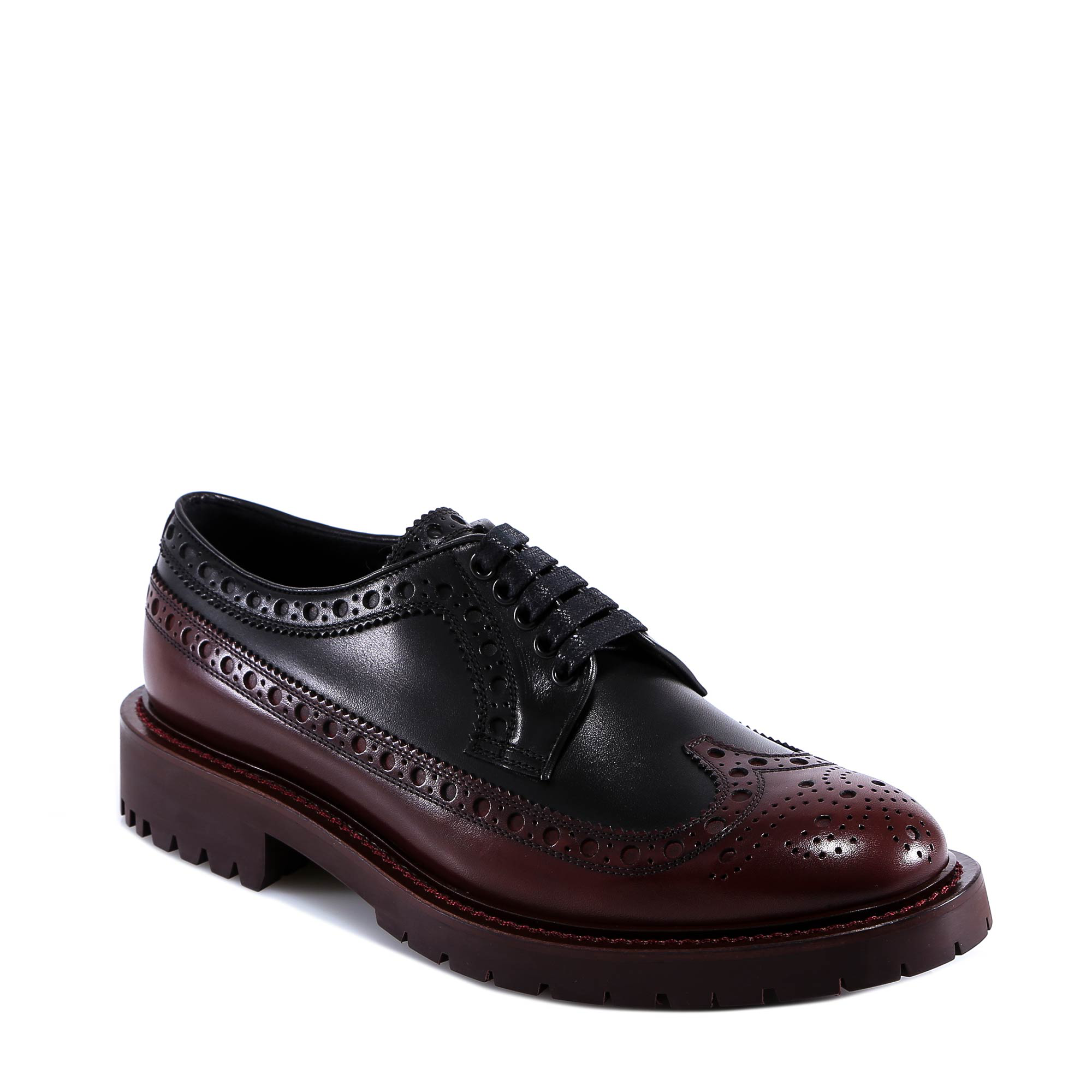 4d9295f696bd Burberry Brogue Detail Leather Derby Shoes In Black
