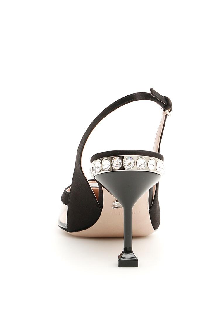 6d6f61b634 Miu Miu Crystal-Embellished Satin And Pvc Slingback Pumps In F0002 Black
