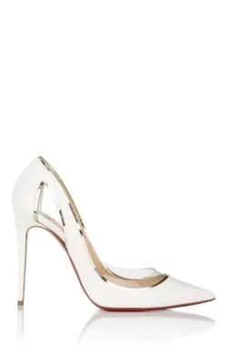 e669997af70 Christian Louboutin Cosmo 554 Patent Vinyl High-Heel Red Sole Pumps In White