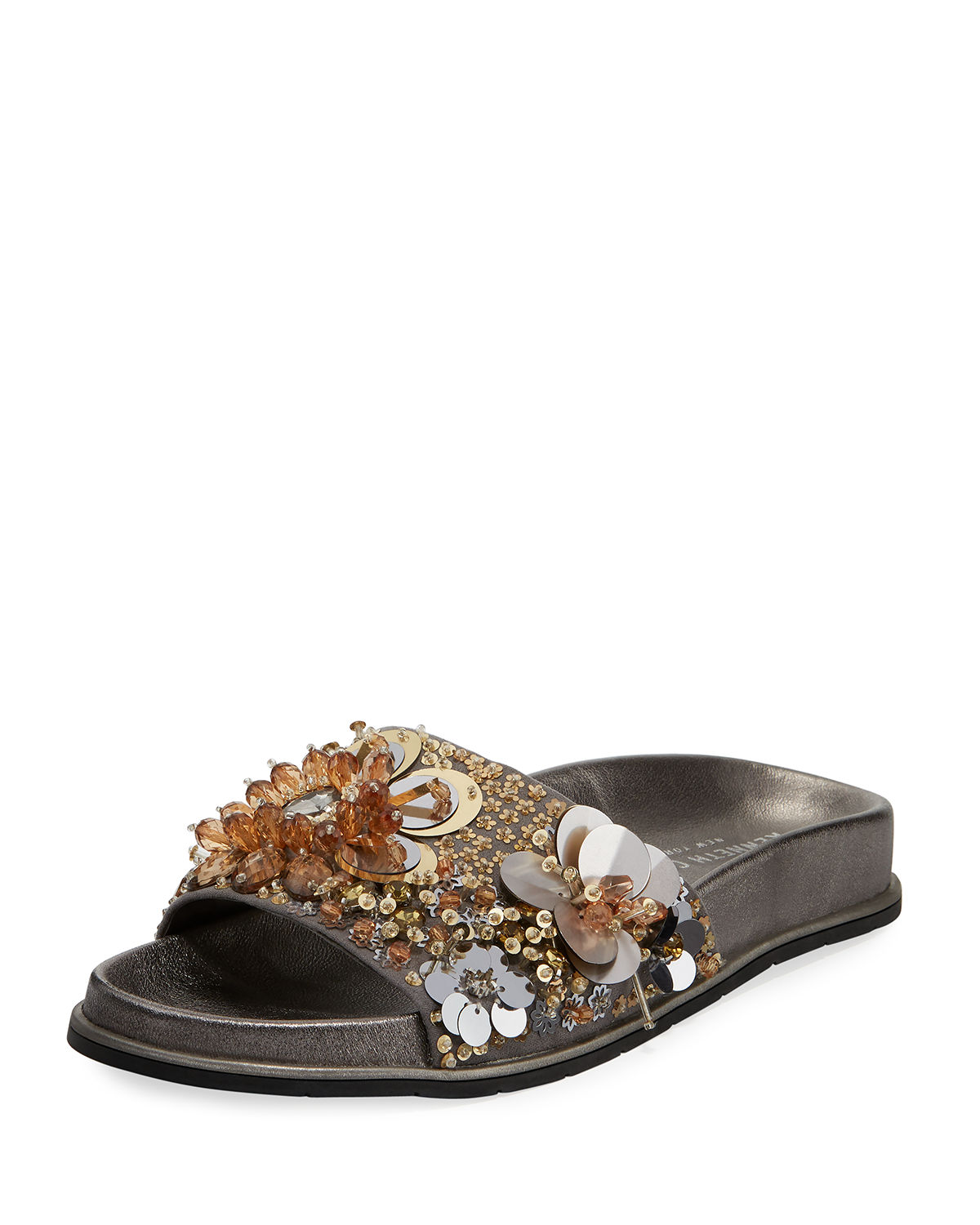 c2b39a7cabf9 Kenneth Cole Women s Xenia Sequin-Embellished Pool Slide Sandals In Silver  Gold