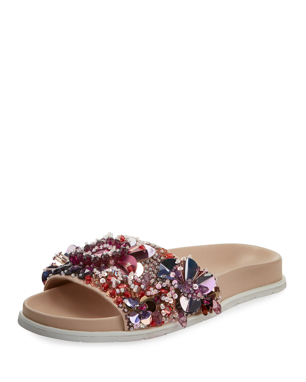 f790d5fceb1a Kenneth Cole Women s Xenia Sequin-Embellished Pool Slide Sandals In Pink  Multi