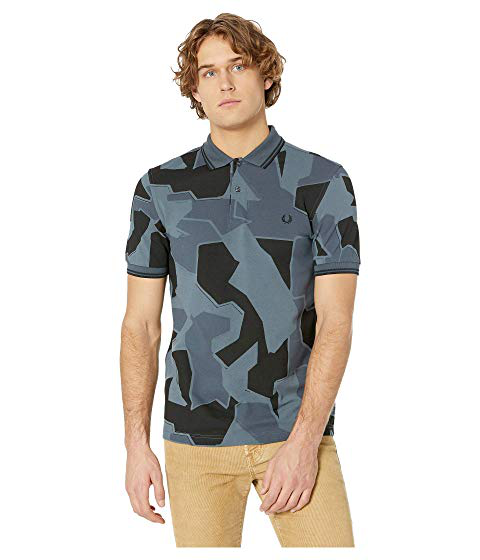 18681a17 Fred Perry Modern Camouflage-Print Pique Slim Fit Polo Shirt In Airforce  Camo