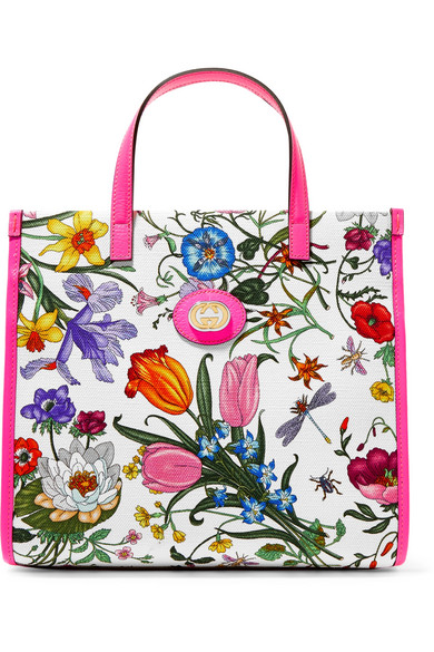 9dbd73752b1f Gucci Flora Medium Leather-Trimmed Printed Canvas Tote In Pink ...