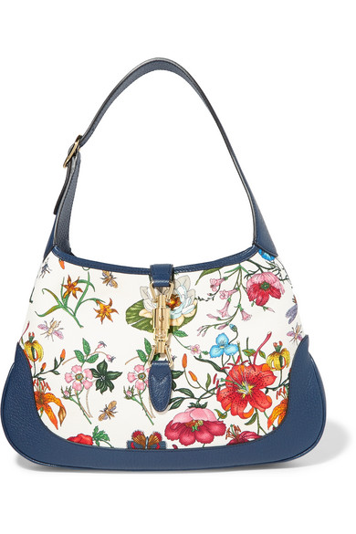 34b779a6e08 Gucci Jackie Hobo Medium Floral-Print Canvas And Textured-Leather Shoulder  Bag In Blue