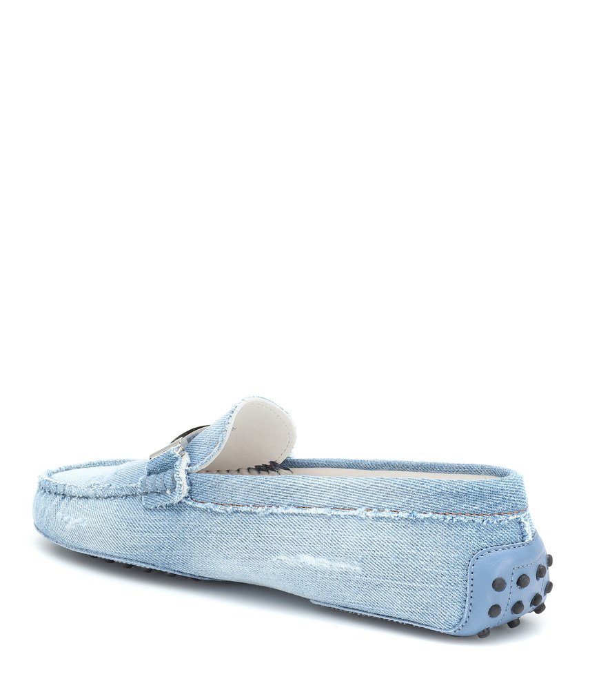 90bcff3ecfe Tod s Double T Gommino Denim Loafers In Blue