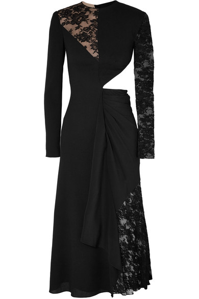 09f3ab6ae515 Givenchy Cutout Paneled Wool-Crepe, Silk Crepe De Chine And Lace Midi Dress  In