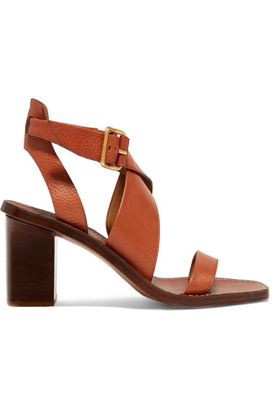 d5bdf16e1d ChloÉ Virginia Strappy Leather Block-Heel Sandals In Brown | ModeSens