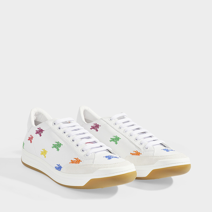 d22e2ac3977 Burberry Timsbury Rainbow Knight Embroidered Leather Sneakers In Opt Wit /Multicolour