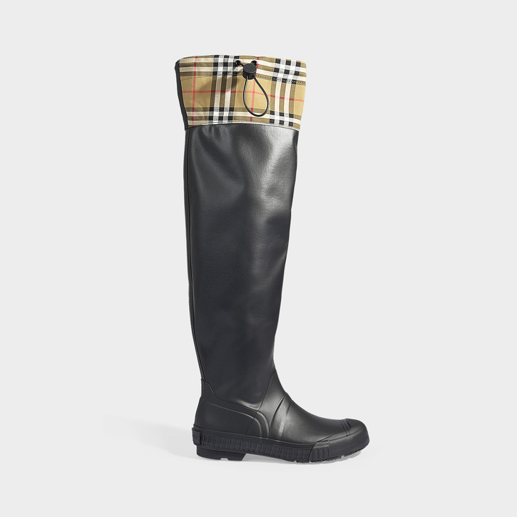3ee3697806 Burberry Women's Freddie Vintage Check Over-The-Knee Rain Boots In Black