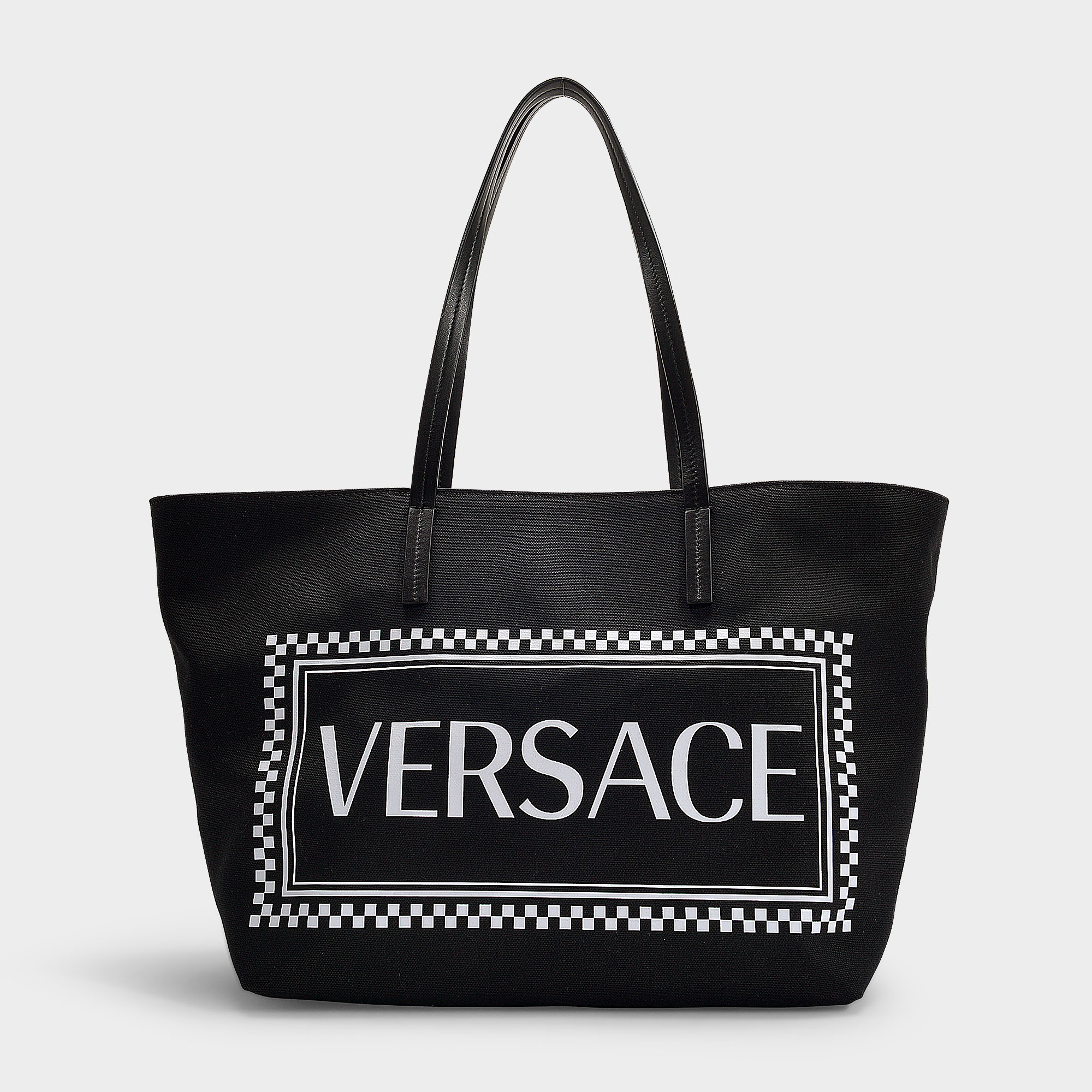 9ed312b8a2 Versace | 90's Vintage Logo Tote In Black And White Nylon | ModeSens