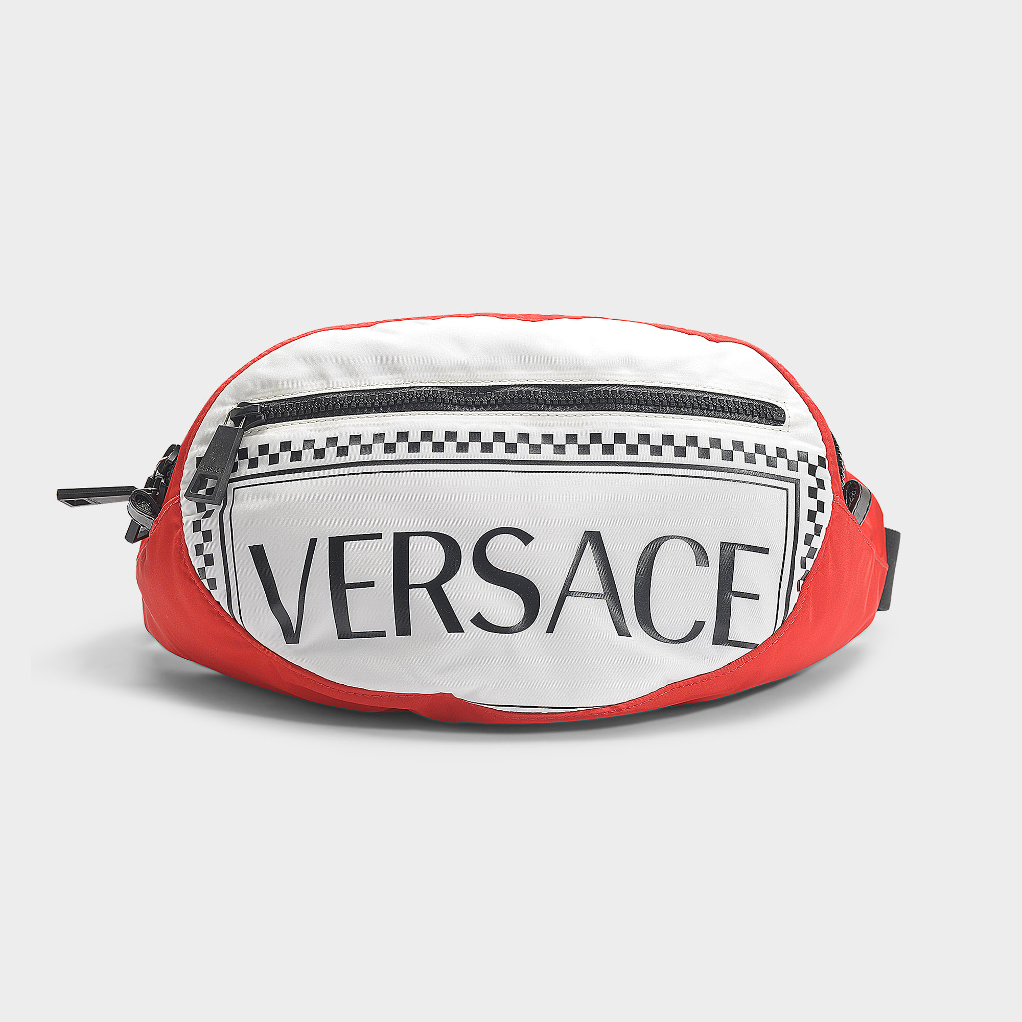 67085c0d Versace   90's Vintage Logo Oval Belt Bag In Black, Red And White Nylon