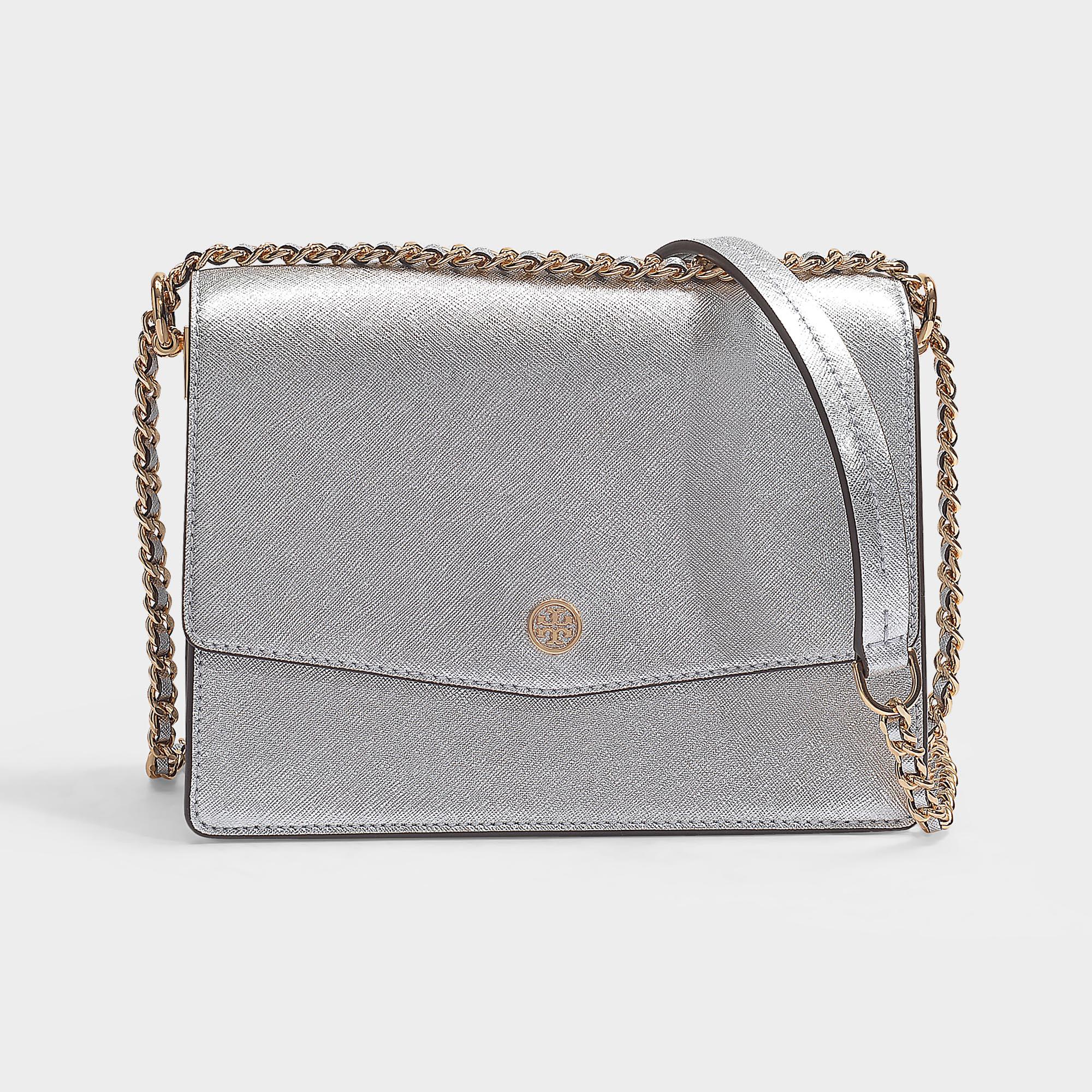 e587b8d7d80 Tory Burch Robinson Metallic Mini Shoulder Bag, Silver | ModeSens