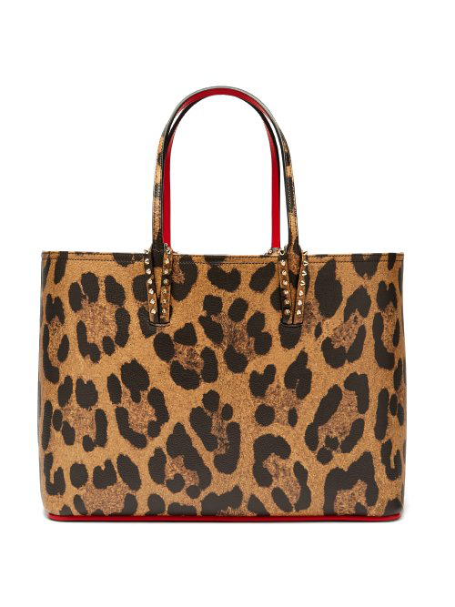 23928215abc4 Christian Louboutin Cabata Spiked Leopard-Print Textured-Leather Tote In Leopard  Print