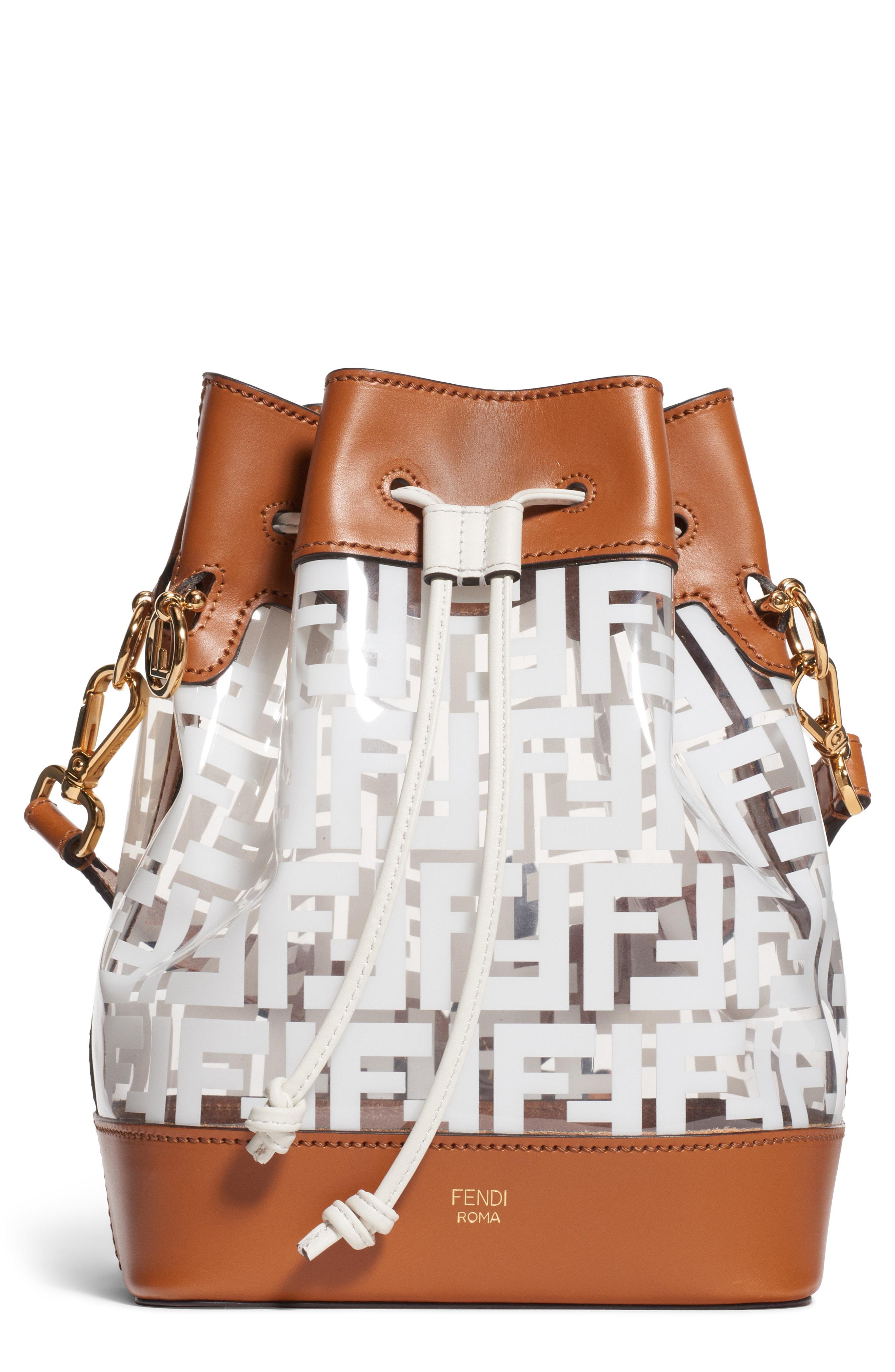 2ff37747b74 Fendi Mon Tresor Logo Transparent Bucket Bag - White In Brown