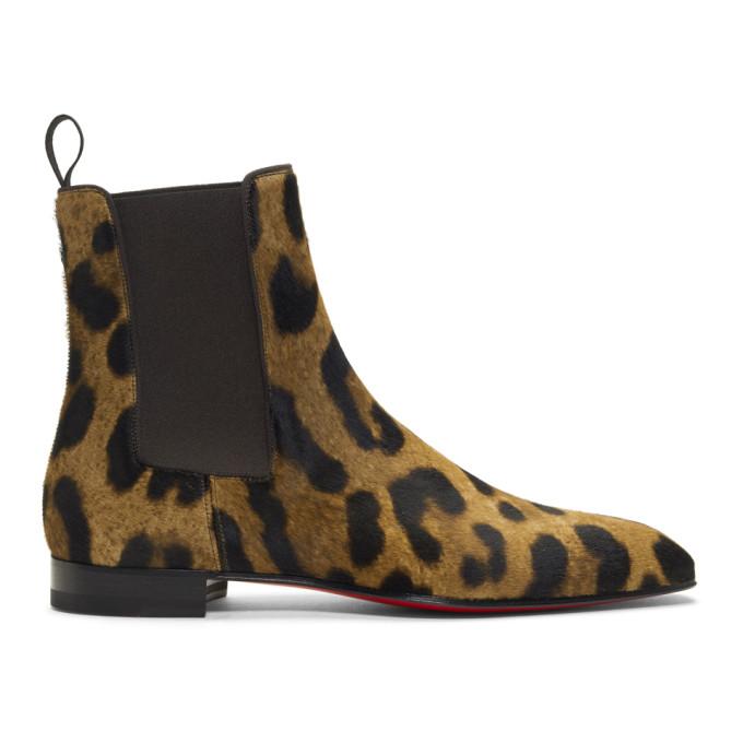 842f8f735ba Christian Louboutin Brown And Black Roadie Leopard Print Calf Hair Boots In  Bw1F Brown
