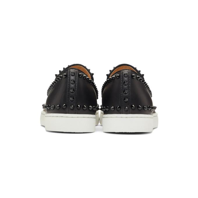 aa8c474e707 Christian Louboutin - Boat Stud Embellished Leather Slip On Trainers - Mens  - Black