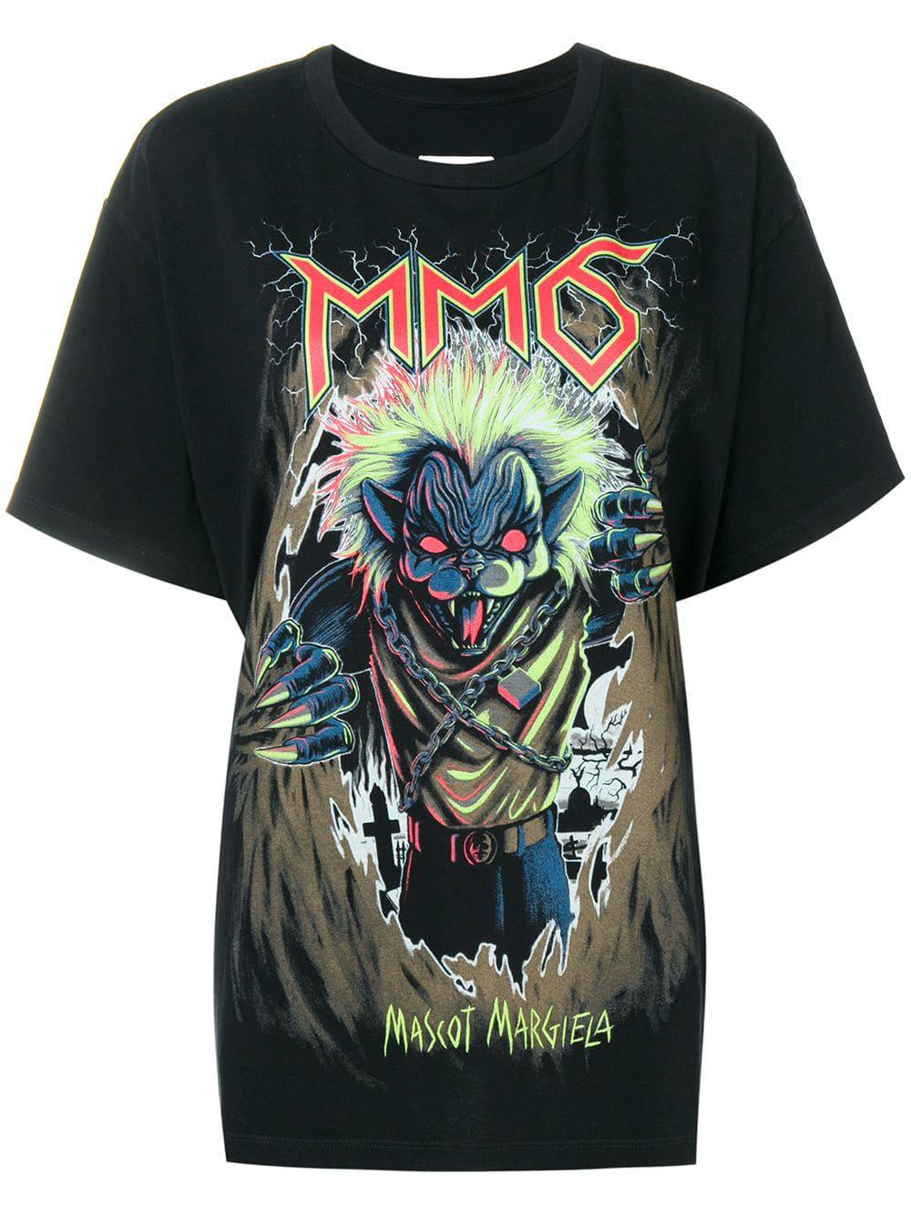 33cb5853 Mm6 Maison Margiela T-Shirt Mit Katzen-Print - Schwarz In Black ...