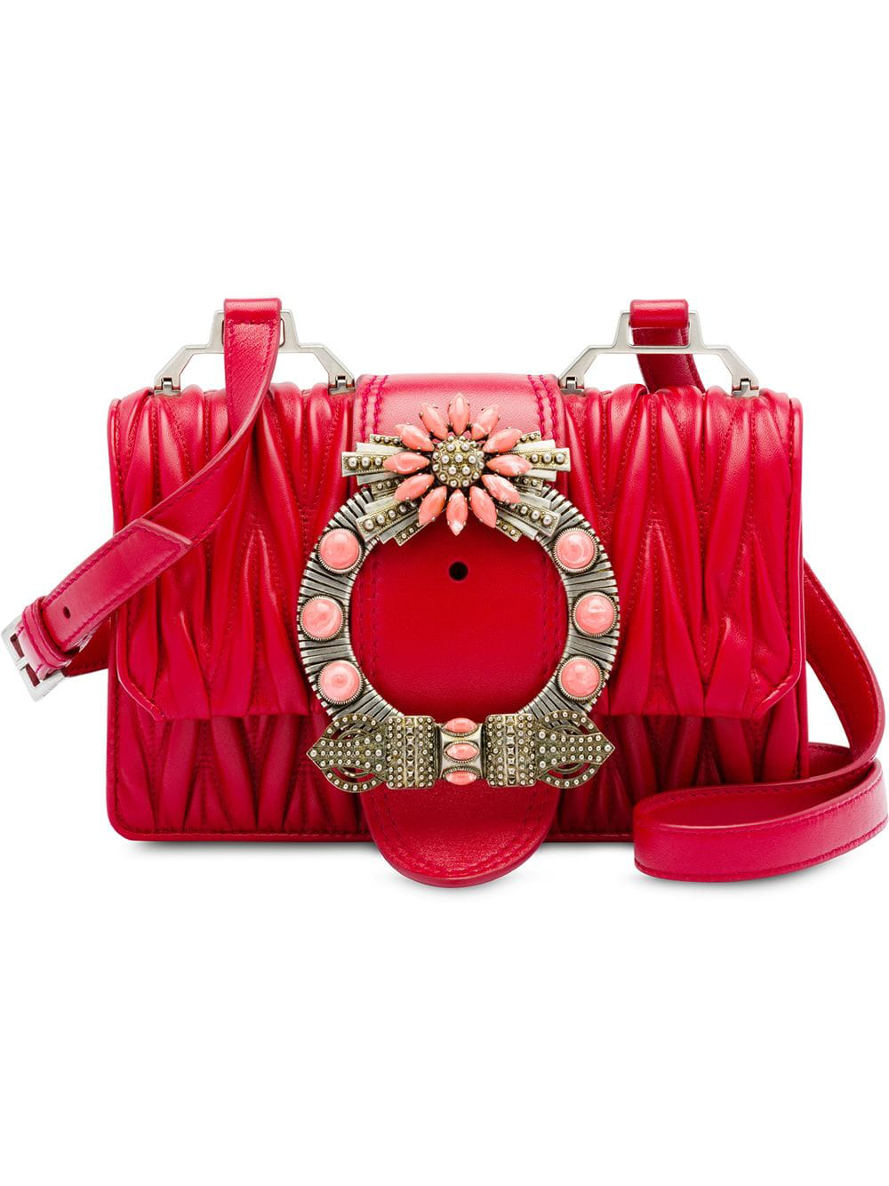 af1c8924d6 Miu Miu Miu Lady Matelassé Leather Shoulder Bag - Red
