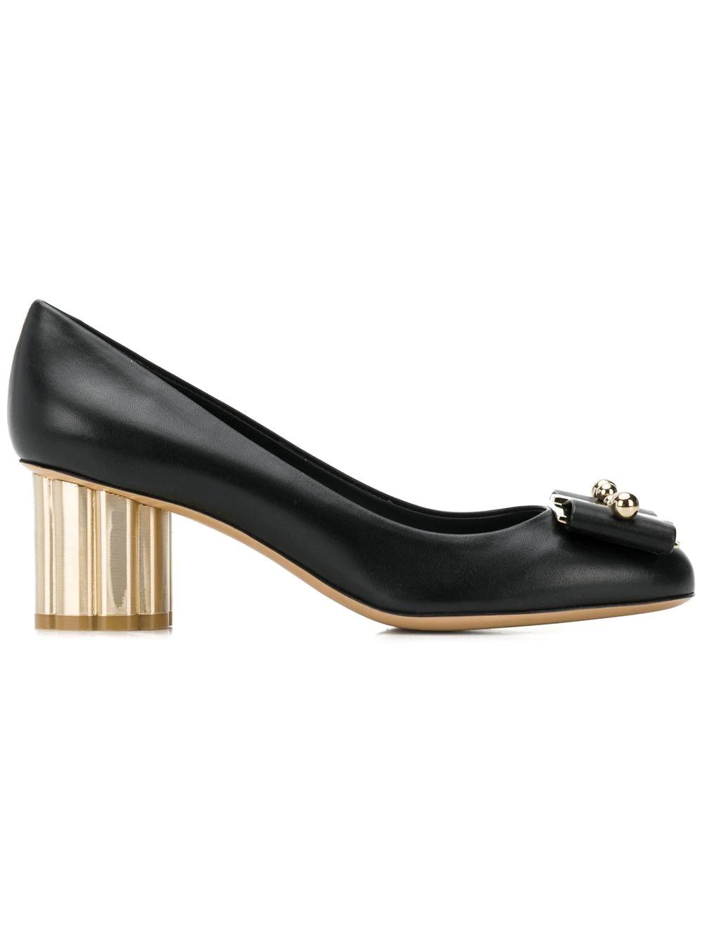 1ddecba28eaf Salvatore Ferragamo Flower Heel Pumps - Black