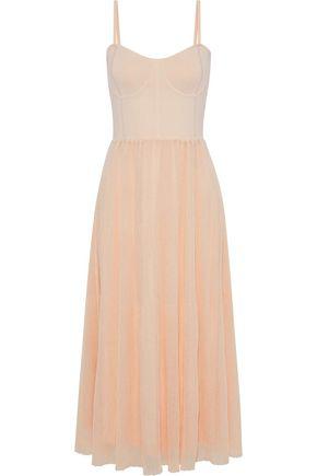 cf8612cdc4f Sandro Woman Roxette Lace-Up Stretch And Ribbed-Knit Midi Dress Blush