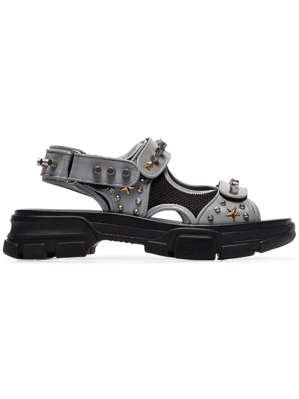 4bc242c98f2 Gucci - Stud Embellished Leather Sandals - Mens - Grey Multi