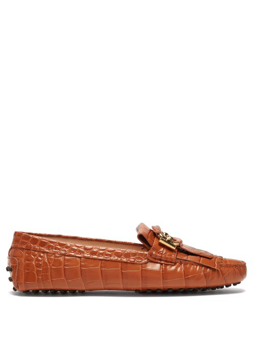 ec968d3b7d2 Tod s - Gommini Crocodile Effect Leather Loafers - Womens - Tan ...
