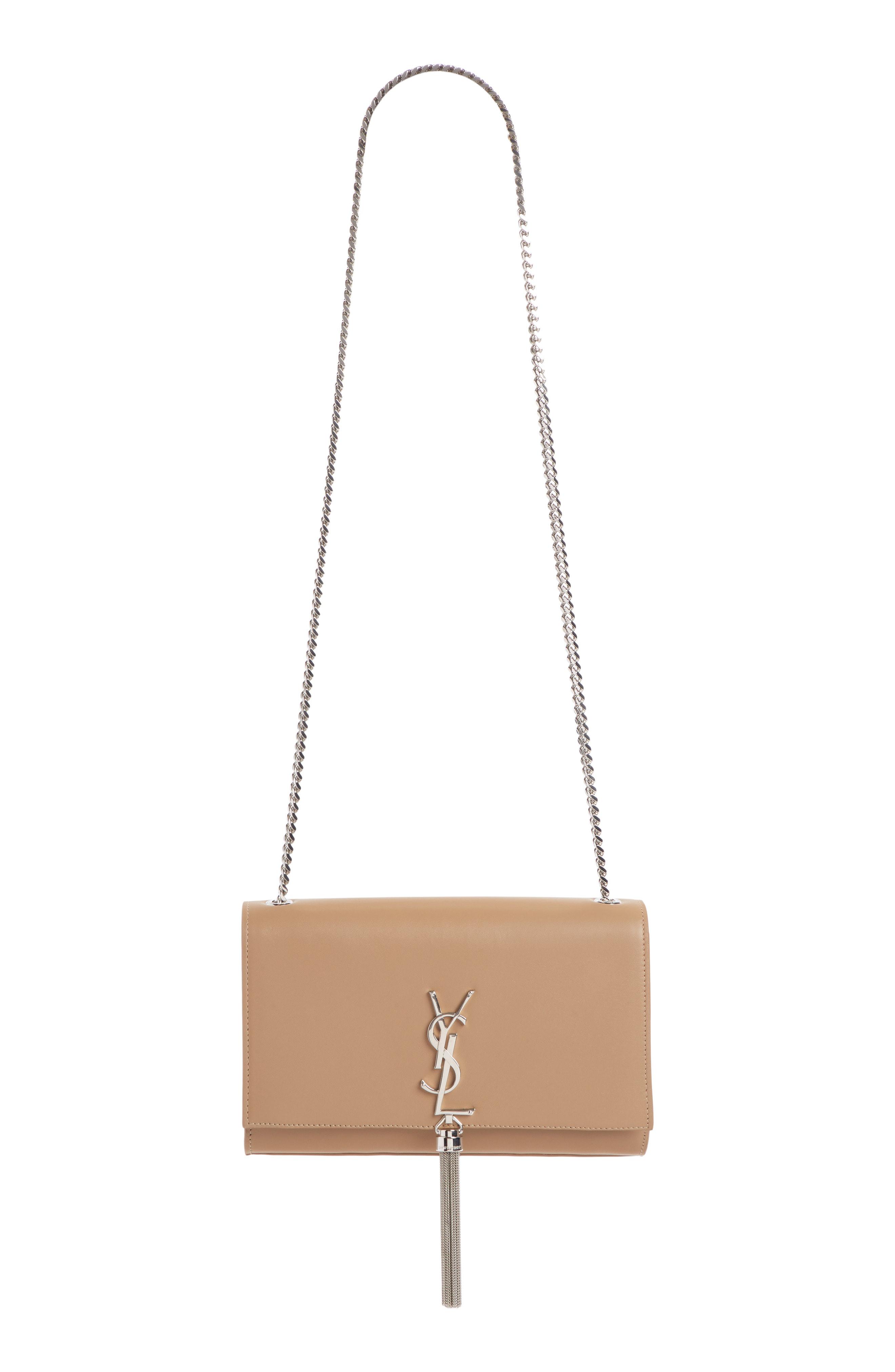 08ba6de201f1 Saint Laurent Medium Kate - Tassel Calfskin Leather Shoulder Bag In Taupe  Fonce