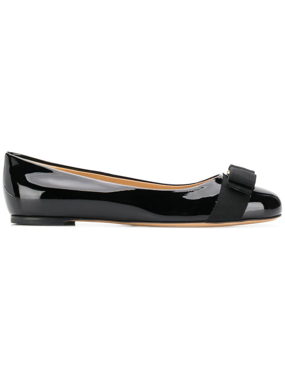 e32900d0c3 Salvatore Ferragamo Varina Studded Bow-Embellished Patent-Leather Ballet  Flats In Black