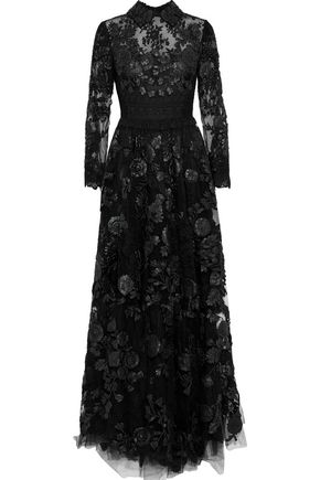Valentino Woman Crochet-Paneled Leather-AppliquéD Lace Gown Black