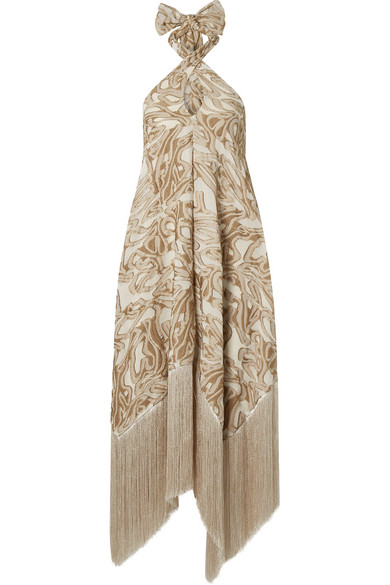 356ddfb2 Cult Gaia Ali Fringed Embroidered Fil CoupÉ Canvas Halterneck Maxi Dress In  Sand