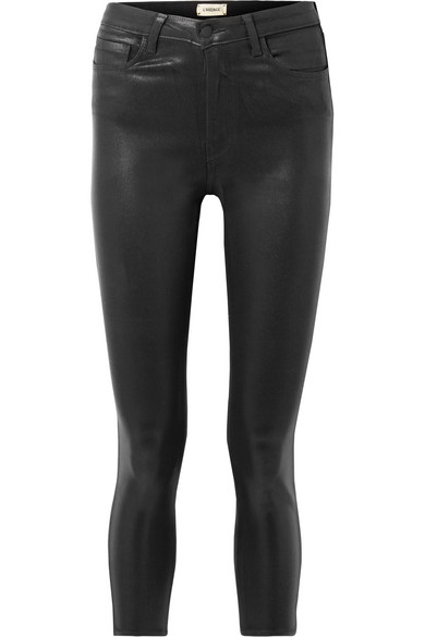 b10ff9315dd9 L Agence Margot Cropped Coated High-Rise Skinny Jeans In Black ...