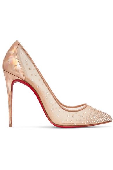 new product a46a7 bd731 Follies 100 Crystal-Embellished Mesh And Metallic Leather Pumps