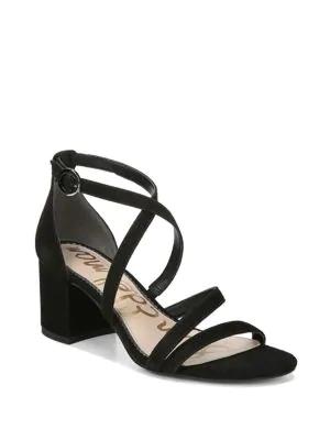 3e3bb1e1c76 Sam Edelman Stacie Strappy Suede Block Heel Sandals In Black